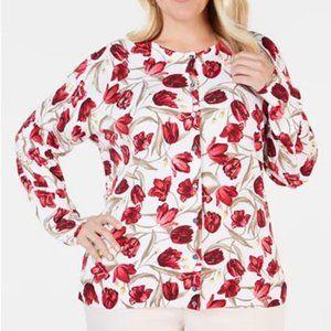 Karen Scott Plus Size Tulip Print Cardigan